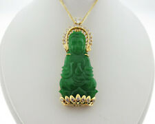 "Kwan Yin Jade 0.68ct Genuine Diamonds Solid 14k Yellow Gold Pendant 18"" Necklace"