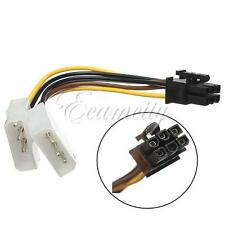 PCI-E Graphic Card Power Connector Cable Adapter Dual 4 Pin to 6 Pin Molex IDE