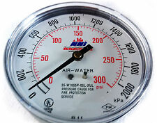 "NNI Air Water Fire Sprinkler Pressure Gauge 0-300Psi 2000kPa 3-1/2"" Dial UL/FM"