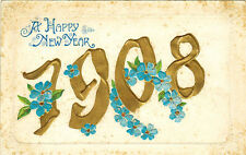 1908 New Year Embossed card English Language Greetings, published in Germany