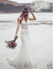 Beach Bohemian Mermaid White/Ivory Lace Wedding Dresses Short Sleeve Bridal Gown