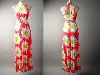 60s Daisy Floral Bright Cutout Strappy Back Resort Long Maxi 137 df Dress S M