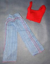 1974 Barbie Doll Best Buy Fashions #7818 Red Knit Tank Top Blue Jean Pants
