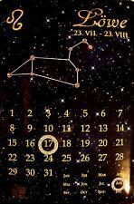 Sternzeichen Löwe Kalender mit Swarovski Steinen Blechschild 20 x 30 cm