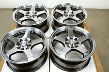 15 4x114.3 4x100 Black Rims Fits Yaris Galant Civic Lancer Miata 4 Lug Wheels