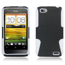 For HTC One V MESH Hybrid Silicone Rubber Skin Case Phone Cover Black White