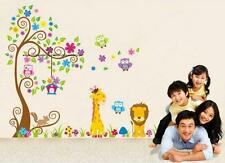 Owl Wall Stickers Scroll Flower Tree Decal Deco Art Animals Lion giraffe Nursery