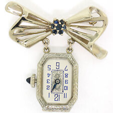 Vintage 18K Gold 12pt Sapphire 15 Jewels Untermeyer Robbins Watch Bow Pin Brooch