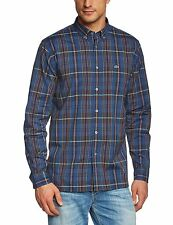 Lacoste men's Medium Plaid casual button down 100% cotton long sleeve shirt