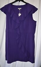 New Spense Women's Plus Size 24W Cap Sleeve Purple Ruffle Summer Dress