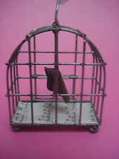 CHRISTMAS ORNAMENT SWINGING BIRD IN METAL CAGE DOOR OPENS HAND CRAFTED NEW