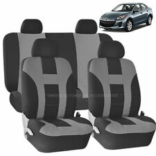 GRAY & BLACK DOUBLE STITCH SEAT COVERS 8PC SET for MAZDA 3 5 CX-9