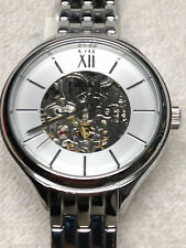 FOSSIL WOMEN'S AUTOMATIC STAINLESS SILVER TONE SKELETON VIEW WATCH * BQ3051