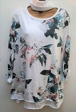 New Lagenlook Ladies White Floral Print Tunic Top & Scarf uk 12 14 16 18