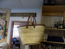 Moroccan Straw & Leather Shopping French Market Basket Bag