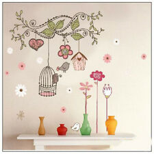 Hot Removable Bedroom Living Room Flower vine Birdcage Home Wall Stickers Decor