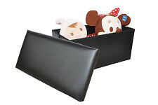 NEW Large Black leather ottoman box Storage Pouffe Foot Stool Toy Storage