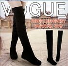 Womens Soft Flat Bottom Long Boots Suede Round Toe Over Knee Thigh High Shoes