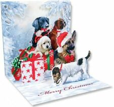 3D Pop Up Greeting Card Christmas Dogs