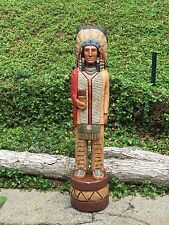 John Gallagher Carved Wooden Cigar Store Indian 5 ft.Tall Bone in stock !