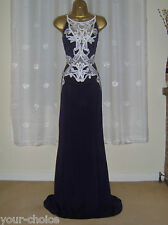 FAB NAVY WHITE LACE MAXI EVENING PARTY DRESS SIZE 14 16 NEW