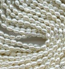 Genuine 4-5mm Natural White Rice Freshwater Pearl Loose Beads Strand 15""
