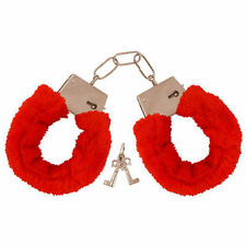 FURRY FLUFFY HANDCUFFS RED FANCY DRESS HEN NIGHT STAG DO PLAY TOY - HANDCUFFS
