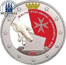 Malta 2 euros conmemorativa 2011 BFR. elección del 1. diputados en color