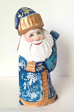 Russian SANTA in a Blue Coat Hand Carved Hand Painted SIGNED Father of Frost