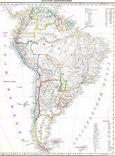 Echte 173 Jahre alte Landkarte SÜDAMERIKA Patagonien Feuerland Falkland 1844