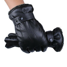 Luxury Mens Gloves Winter Super Driving Warm Full Finger PU Leather Gloves New