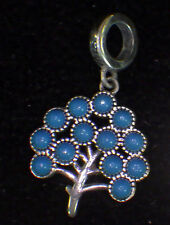 UNBRANDED 925 STERLING SILVER DANGLE TURQUOISE FAMILY TREE EUROPEAN BEAD CHARM