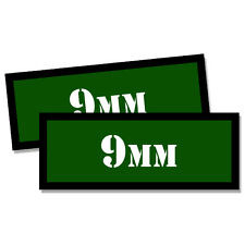"9MM Ammo Can 2x 9MM Labels Ammunition Case 3""x1.15"" GREEN stickers decals 2 pack"