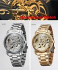 Classic WINNER Stainless Steel Analog Automatic Mechanical Men's Skeleton Watch