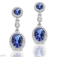 Simulated Tanzanite Diamond Genuine Sterling Silver Dangle Earrings