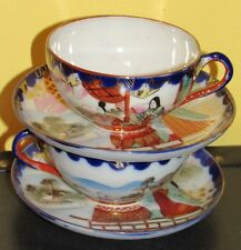 ~2 Antique Japanese Cup and Saucer Sets Oriental The Immortals Fine China~