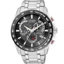 NEW CITIZEN ECO-DRIVE STEEL PERPETUAL CHRONOGRAPH RADIO CONTROLLED AT4008-51E