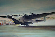 Vtg Pan Am Airlines Airplane Flying Boat Boeing B-314 John T. McCoy Print Signed