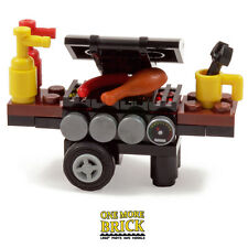 LEGO BBQ Barbecue grill oven. Minifigure scale BBQ with food drink extras NEW