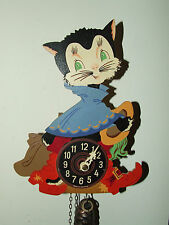 """Vintage Working German Weight Driven """"PUSS N BOOTS"""" Cat Novelty Cuckoo Clock"""