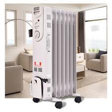 1500W Electric Oil Filled Radiator Space Heater 5-Fin Thermostat  Room Radiant