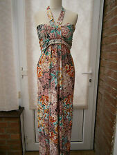 LADIES PINK FLORAL PRINT MAXI DRESS SIZE 16 - 18 NEW SALE (ref 323)