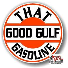 "(GULF-7) 4"" THAT GOOD GULF GASOLINE decal lubster gas pump oil man cave"