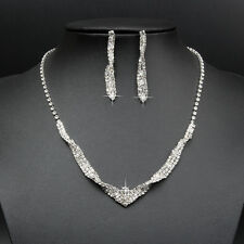 Shiny Cup Chain Pave Crystal Rhinestone Cross V Shape Claw Necklace Earring Gift