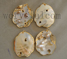 10 PCS/lot NATURAL CULTURED FRESHWATER oyster BLISTER PEARL Shell PENDANT Gold