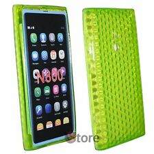 Cover Custodia Per Nokia Lumia 800 Verde Silicone Gel TPU + Pellicola Display