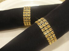 300 GOLD BLING RHINESTONE NAPKIN RINGS (3 ROWS) BRIDAL/WEDDING/QUINCEANERA PARTY