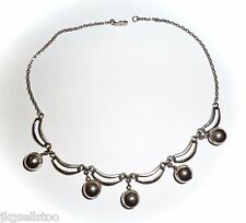VINTAGE - SILVERTONE DANGLING BALLS from LINKED OPEN SECTIONS & CHAIN NECKLACE