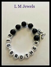 Personalised BOYS Big Brother Bracelet Dinosaur Charm Becoming Big Brother Gift