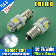 Pair E10 SMD 5050 5 LED BULBS MES SCREW TORCH HEADLAMPS WHITE 6000K DC12V 100LM